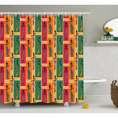 Halaka Ethnic Ladies Posing With Vases Native Elegance Moroccan Arabesque Artful Graphic Shower Curtain Size: 69 W x 70 H