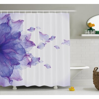 Keenum Flower Abstract Themed Modern Futuristic Image With Water Like Colored Art Print Shower Curtain Size: 69 W x 84 H