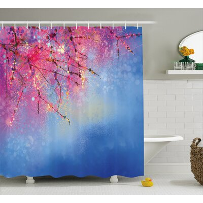 Nazario Sakura Branches Hangs Down Dramatic Night Oriental Plant Image Shower Curtain Size: 69 W x 75 H