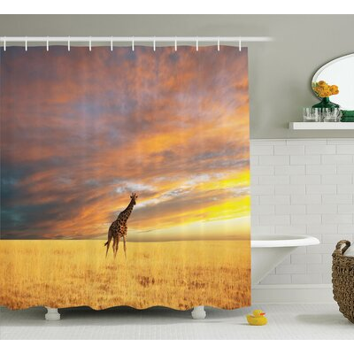 Quijano Giraffe Animal Shower Curtain Size: 69 W x 70 H