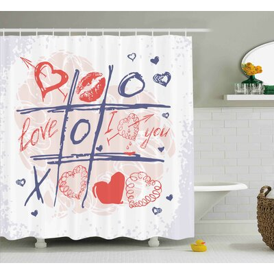 Valentines Day Xoxo Game With Lips Sketchy Circles Hearts Romantic Love Theme Shower Curtain Size: 69 W x 70 H