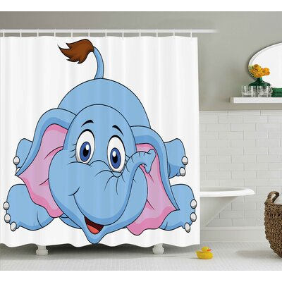 Isabelle Cartoon Cute Baby Elephant Figure Kids Children Playroom Girls Boys Art Comic Print Shower Curtain Size: 69 W x 75 H