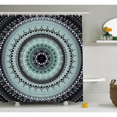 Ouanane Mandala Vintage Yantra Icon With Ethnic Lines Path of Soul Inner Peace Energy Design Shower Curtain Size: 69 W x 70 H