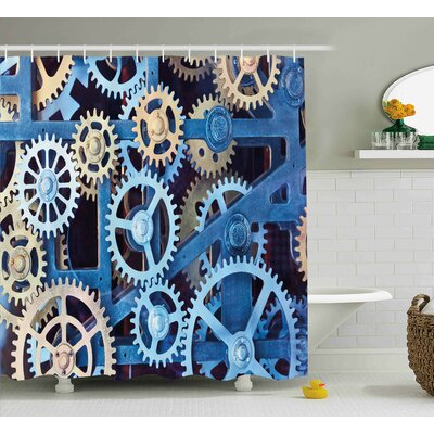 Kinney A Set of Clock Gears Steel Cogwheels Pattern Mechanical Theme Design Shower Curtain Size: 69 W x 70 H