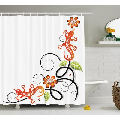 Lynette Tribal Small Baby Lizard Flowers and Leaves With Oriental Lines Print Shower Curtain Size: 69 W x 70 H