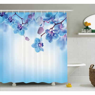 Madden Orchids Asian Natural Flowers Reflections on Water For Spring Calming Art Shower Curtain Size: 69 W x 70 H