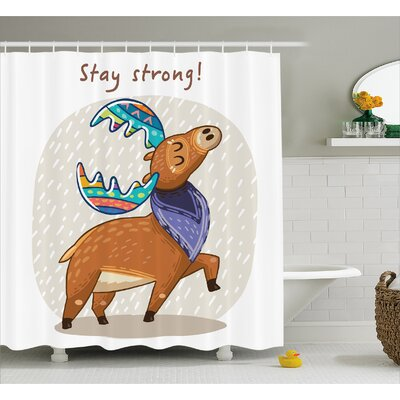 Ester Moose Deer With Scarf and Rainbow Retro Antler Horns Quote Stay Strong Rain Design Bohem Shower Curtain Size: 69 W x 70 H