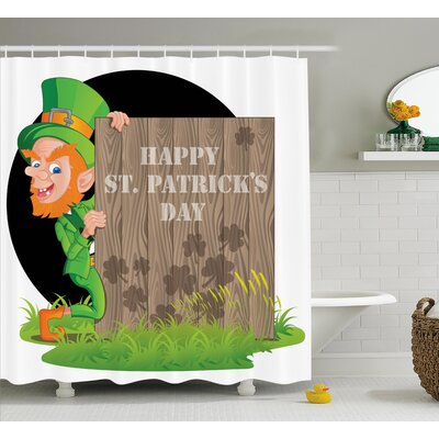 St. PatrickS Day Irish Leprechaun and Greetings Wooden Plank With Shamrock Pattern Shower Curtain Size: 69 W x 70 H
