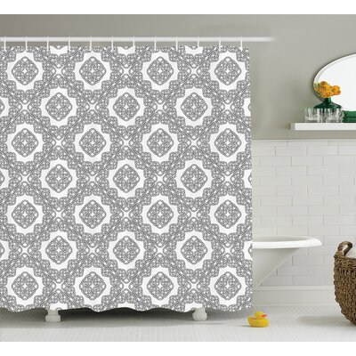 Rebecca Geometric Diagonal Symmetrical Binding Cross Knots Motif Retro Illustration Shower Curtain Size: 69 W x 75 H