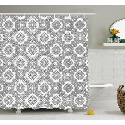 Rebecca Geometric Diagonal Symmetrical Binding Cross Knots Motif Retro Illustration Shower Curtain Size: 69 W x 75 H