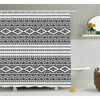Belina Ethnic Oriental Tribal Moroccan Round Style Lines Dots Geometric Shapes Artwork Image Shower Curtain Size: 69 W x 75 H