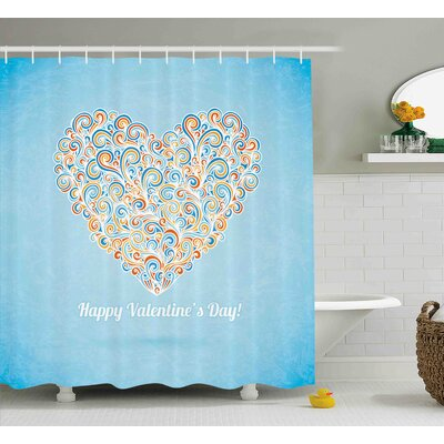Valentines Day Happy Valentines Day Image With Paisley Floral Colored Heart Design Shower Curtain Size: 69 W x 70 H