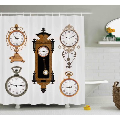 Bryant a Set of Vintage Clocks Pattern Decorations For Home Antique Theme Design Shower Curtain Size: 69 W x 70 H
