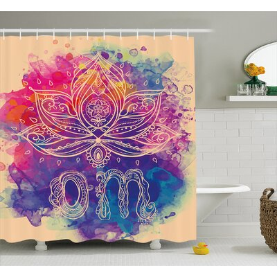 Dia Chakra Oriental Om Lettering and Lillies With Surreal Hallucinatory Background Shower Curtain Size: 69