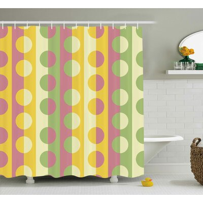 Chrystin Abstract Retro Textured Circle Geometric Shapes Over Striped Grid Background Soft Design Shower Curtain Size: 69 W x 70 H