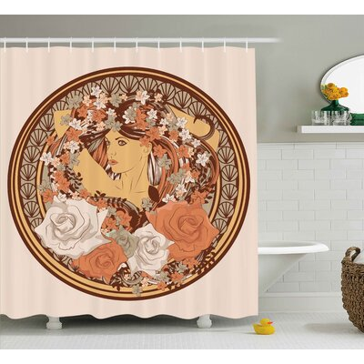 Austinburg Indian Decor With Flowers and a Women With Hair Standing Shower Curtain Size: 69 W x 70 H