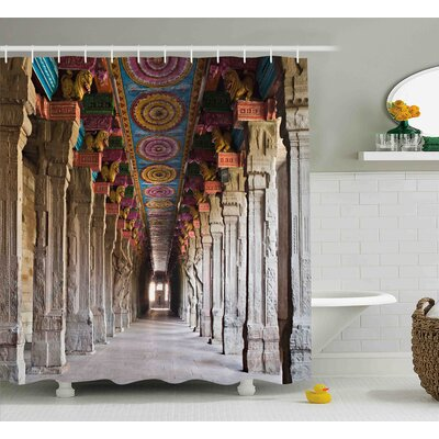 Aurora Pillar Spiritual Theme Inside of Old Meenakshi Temple Shower Curtain Size: 69 W x 70 H