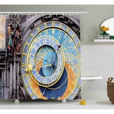 Amparo Prague Astronomical Clock Shower Curtain Size: 69 W x 70 H
