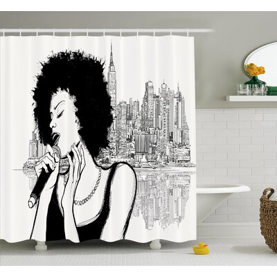 Keeler American Jazz Music Girl Performing Shower Curtain Size: 69 W x 70 H
