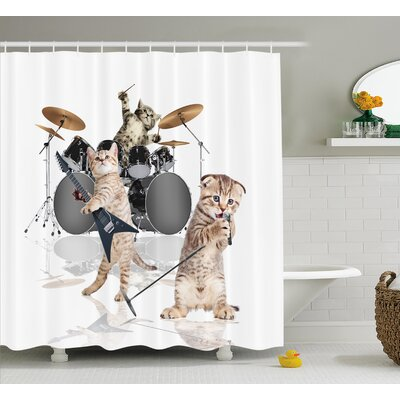 Frankie Animal Cool Fancy Hard Cute Rocker Band of Kittens With Singer Guitarist Cats Print Shower Curtain Size: 69 W x 70 H