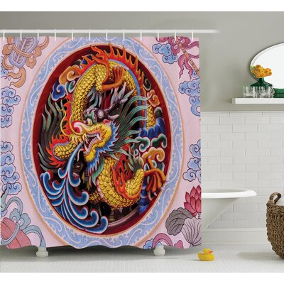 Oxon Dragon Chinese Dragon With Horns Mane and Claws Flower Ornament Mythical Creature Shower Curtain Size: 69 W x 70 H