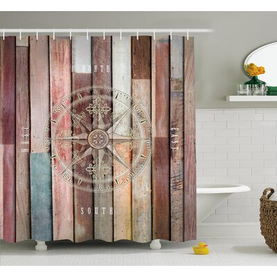 Edinburg Navy Sea Life Yacht Theme Colored Wood Backdrop With Rudder Like Compass Image Shower Curtain Size: 69 W x 75 H