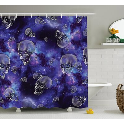 Skull Scary Creepy Skull Heads Flying Shower Curtain Size: 69 W x 70 H