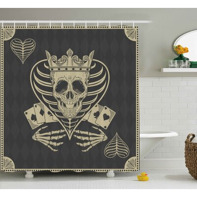 Skull Vector Skull Poker Cards Play Game Scary Horror Image With Crown and Heart Shower Curtain Size: 69 W x 70 H
