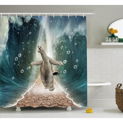 Jeanie Animal Naked Turtle Left Its Big Shell Dividing The Ocean Walking Through Freely Print Shower Curtain Size: 69 W x 70 H