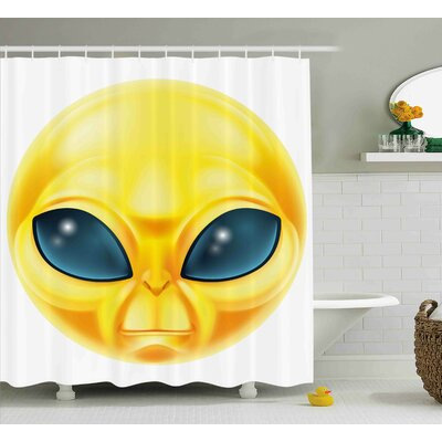 Pamela Emoji Alien Smiley Face With Big Eyes Creature From Outer Space Nebula Galaxy Image Shower Curtain Size: 69 W x 70 H