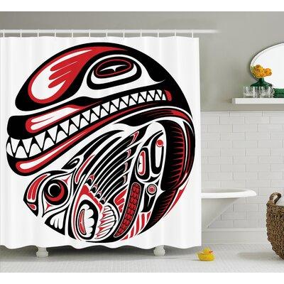 Irma Tribal Haida Style Animal Art Wild Indian Eagle and Killer Dog With Sharp Teeth Shower Curtain Size: 69 W x 70 H