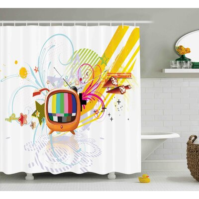 Betty Modern Digital Image Television Media Stars Stripes Lines Abstract Artwork Image Shower Curtain Size: 69 W x 70 H