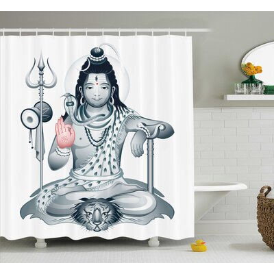 Nommern Yoga Indian Supreme Goddess on Dead Tiger Purify Power of The World Meditation Theme Shower Curtain Size: 69 W x 70 H