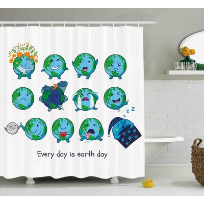 Brigida Emoji Planet Earth As Smiley Angry Happy Sad Cheerful Faces Expressions and a Quote Print Shower Curtain Size: 69 W x 70 H