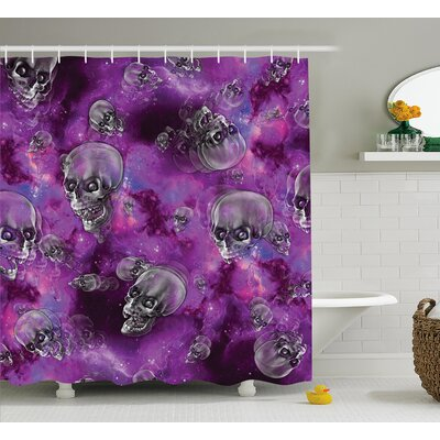 Skull Horror Movie Themed Flying Skull Heads Halloween Shower Curtain Size: 69 W x 70 H