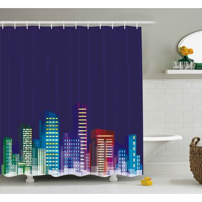 Dena Print of City Scenery Landscape of Apartments and Buildings Artwork Shower Curtain Size: 69 W x 70 H