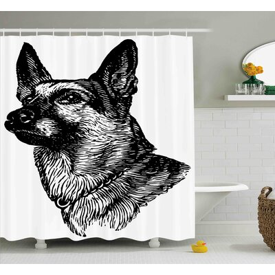 Karen Pencil Sketchy Image of Dogs Human Best Friend Guardian Police Animal Artwork Shower Curtain Size: 69 W x 70 H