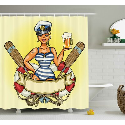 Judith Pin-Up Sailor Girl Shower Curtain Size: 69 W x 75 H