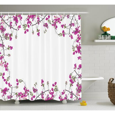 Jacobson Vintage Frame With Ivy Floral Design With Leaves Buds and Branches Print Shower Curtain Size: 69 W x 70 H