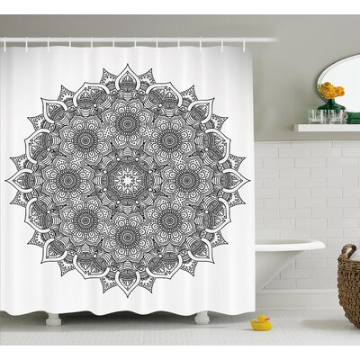 Cathleen Flower and Leaf Old Arabic Ottoman Mandala Chart Life Web Meditation Print Shower Curtain Size: 69