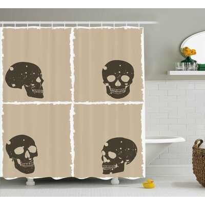 Tenille Grunge Skull Figure on Murky Flat Framework Halloween Crossbones Spooky Monster Image Shower Curtain Size: 69 W x 75 H