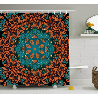 Karin Round Flowers Florals With Psychedelic Motif Boho Hippie Decorations Image Shower Curtain Size: 69 W x 75 H