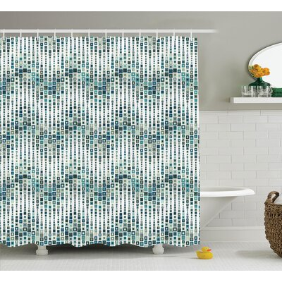 Kaylor Home Wave Shape With Geometric Figures Shower Curtain Size: 69 W x 75 H