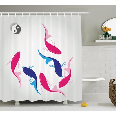 Onghoue Japanese Pair Authentic Squid Fish With Yin Yang Symbol Aquatic Pisces Marine Theme Shower Curtain Size: 69 W x 70 H