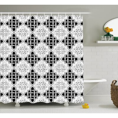 Anne Scandinavian Regular Interlace Nested Embellished Old Kitsch Vintage Design Shower Curtain Size: 69 W x 75 H