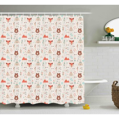 Alicia Tribal Cute Indian Primitive Fox Arrows Bear Lodge Houses Feather Graphic Shower Curtain Size: 69 W x 70 H