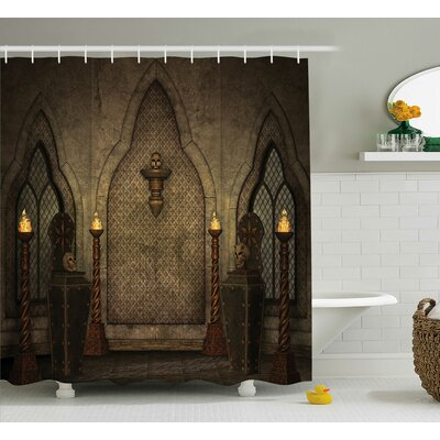 Gothic House Fantasy Scene With Old Wooden Torch and Skull Candlestick Shower Curtain Size: 69 W x 70 H