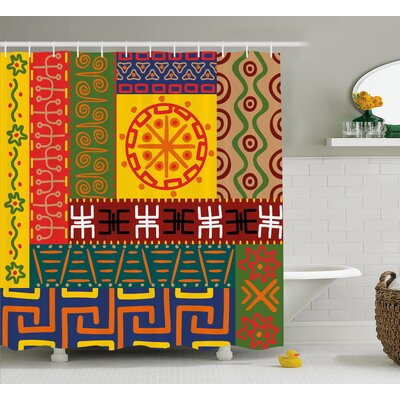 Micah Abstract Ethnic Ornaments African Tribal Symbols Illustration Image Shower Curtain Size: 69 W x 75 H
