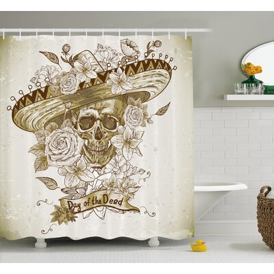 Betsy Day of The Dead Wooden Floral Leaves Mexican Spanish Festive Hat Print Shower Curtain Size: 69 W x 70 H