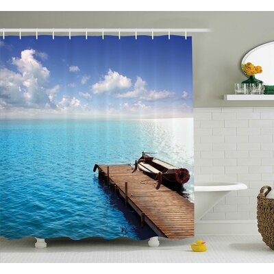 Buchan Summer Wooden Deck on Charm Lake Holiday Europe Coast Tranquil Sea View Shower Curtain Size: 69 W x 70 H